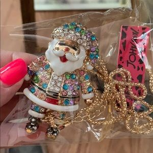 New Betsy Johnson Santa brooch and necklace